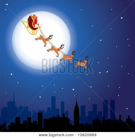 flying santa and deers