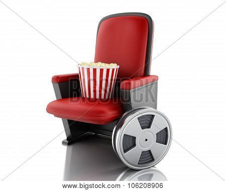 3D Film Reel And Popcorn On Theater Seat.