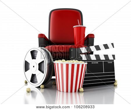 3D Film Reel, Popcorn And Drink On Theater Seat.