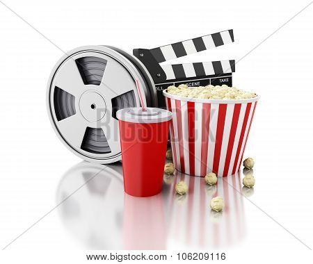 3D Cinema Clapper, Film Reel, Popcorn And Drink.
