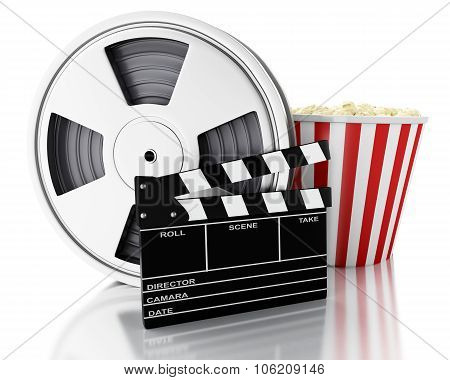 3D Cinema Clapper, Film Reel And Popcorn.