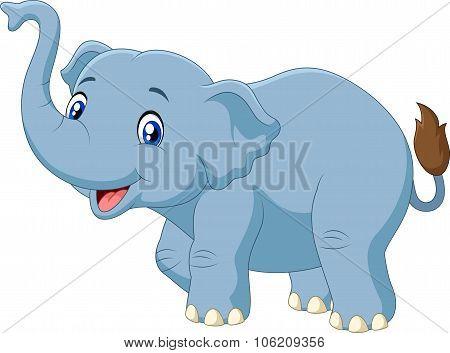 Cute cartoon elephant isolated on white background