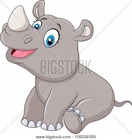 Cartoon baby rhino sitting isolated on white background
