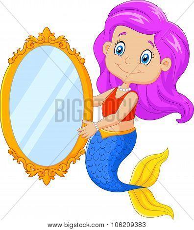 Cartoon funny mermaid swimming holding a classic mirror