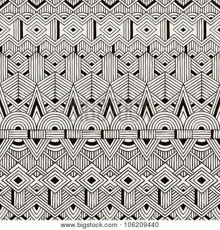 Vector seamless tribal pattern. Hand drawn background.