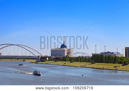 View Of The Ishim River And Ak Orda On A Summer Day