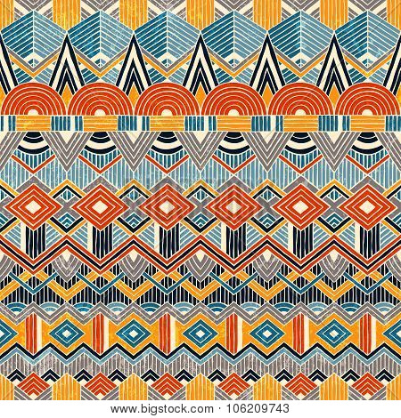 Ethnic seamless pattern. Hand drawn Abstract geometric background.
