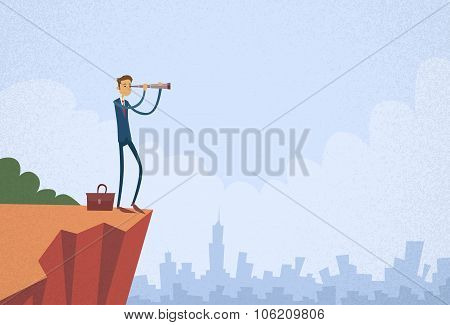Cartoon Businessman Looking Skyglass Through Telescope Standing on Top Mountain
