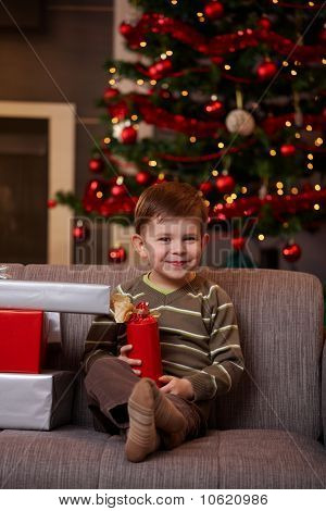 Little Boy With Christmas Presents