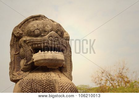 Bronze Statue Of A Lion At Castle In Thailand