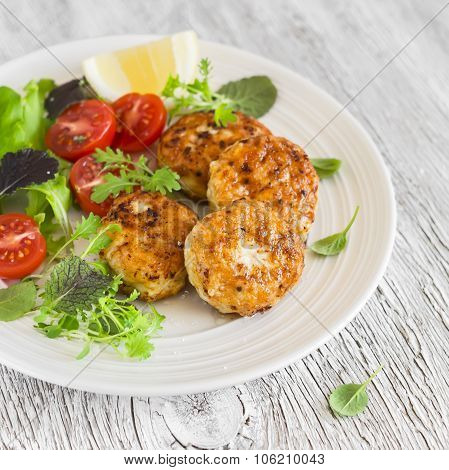 Chicken Cutlets And Fresh Vegetable Salad