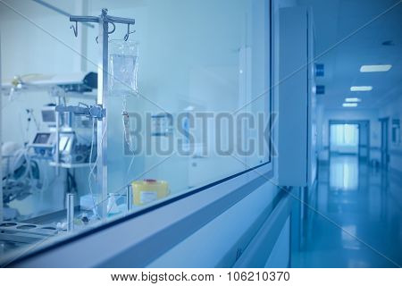 Room With The Equipment And Corridor In The Hospital