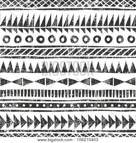 Vector hand drawn tribal pattern. Primitive geometric background in grunge style.