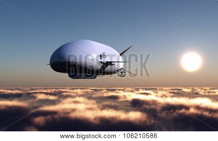 The airship flying in the blue sky.