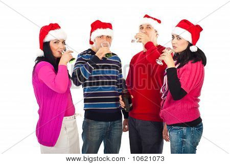 Christmas  Friends Drinking Champagne
