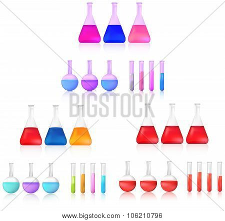 Colorful And Red Science Chemical Substance In Chemistry Test Tube And Beaker Tool Icon Set For Labo