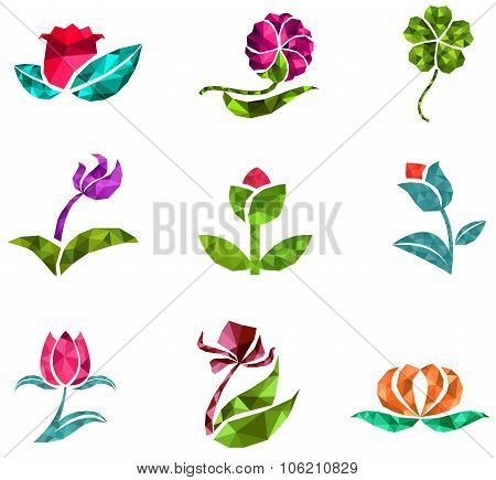 3D Geometric Polygon Jewelry Of Creative Crystal Flower Flora Such As Lotus Daisy Tulip Rose Clover