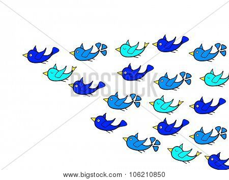 Birds flying with leadership concept