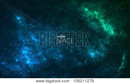 Space Galaxy Background with nebula, stardust and bright shining stars. Vector illustration for your