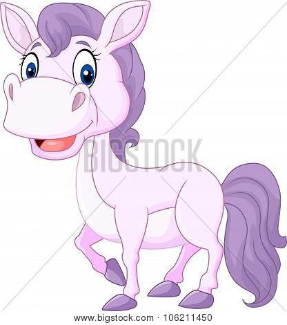 Cartoon cute beautiful baby pony isolated on white background