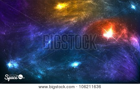 Colorful Cosmic Background with Shining Stars, Stardust and Nebula. Vector Illustration for artwork,