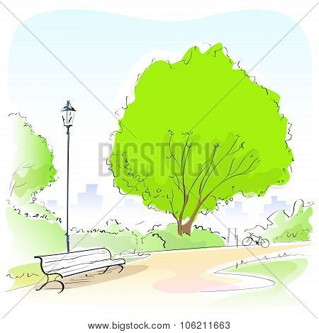 Fashion Woman Hand Draw Sketch Park Bench Green Tree Outdoor