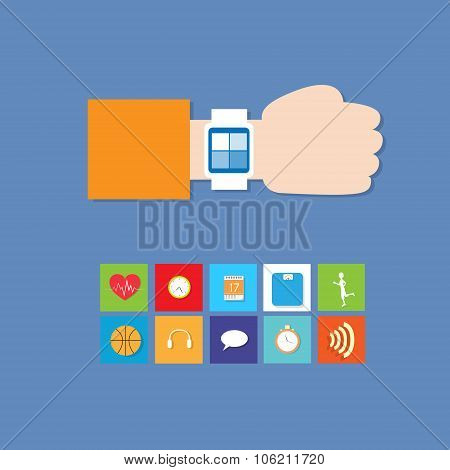 Smart Watch Technology Electronic Device Apps Icons Set Thin Line Simple Colorful Collection