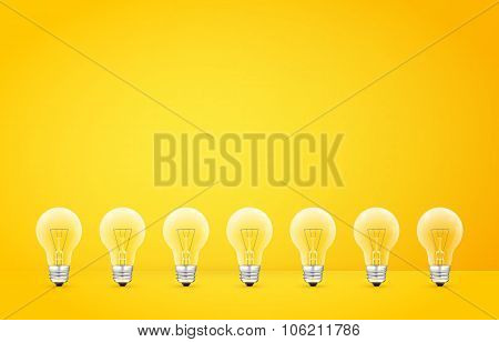 Standing in a row light bulbs on yellow background. Vector illustration.
