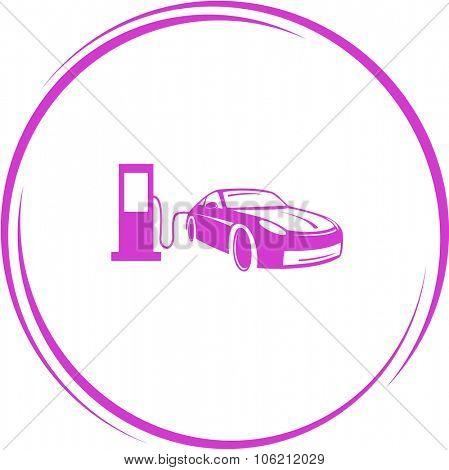 car fueling. Internet button. Vector icon.