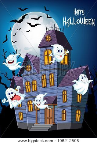 Cartoon scary Halloween house with funny ghosts
