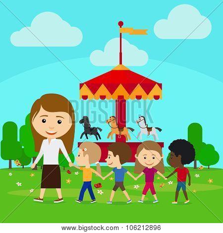 Teacher leads children in kindergarten