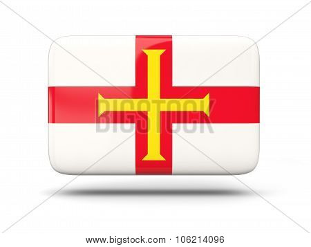 Square Icon With Flag Of Guernsey
