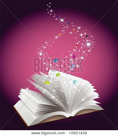 Open book with magic dust falling