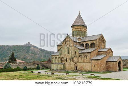 Svetitskhoveli church and castle complex panorama in Mtskheta, Georgia