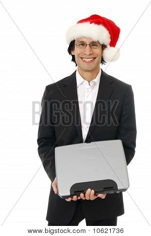 Businessman In A Santa Hat