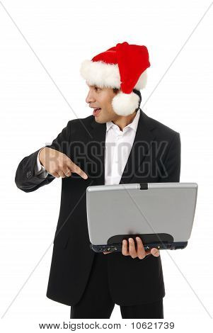 Businessman Pointing At A Computer