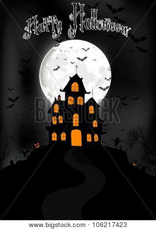 Halloween background with scary house on the full moon