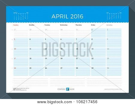 April 2016. Monthly Calendar Planner For 2016 Year. Vector Design Print Template. Week Starts Sunday
