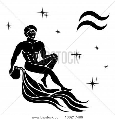 Black Silhouette Of  Aquarius Are On  White Background.