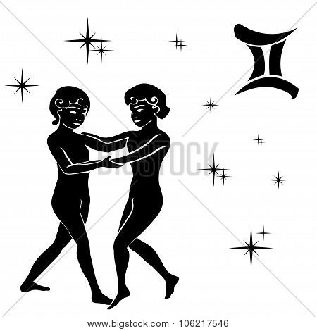 Black Silhouette Of Gemini Are On  White Background.