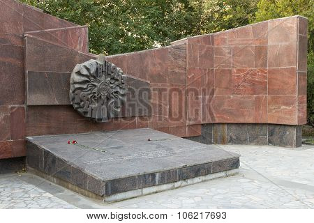 The monument is a mass grave 45 infantry division of a name of Shchorsa. Russia. Volgograd