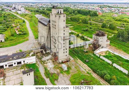 Bird eye view on grain elevator
