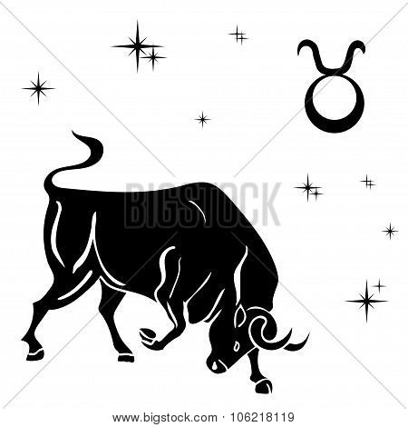 Black Silhouette Of  Taurus Are On  White Background.