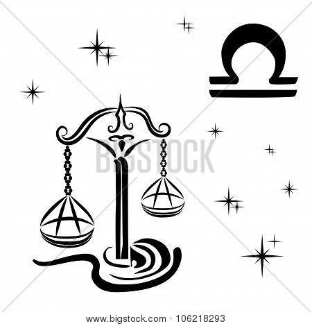 Black Silhouette Of  Libra Are On  White Background.