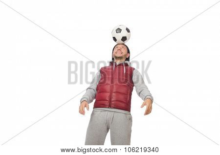 Man with football isolated on white
