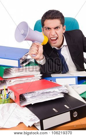 Funny businessman busy with his deliverables