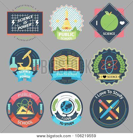 Color vintage school emblems vector set