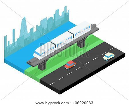 Sky train and city skyline isometric illustration