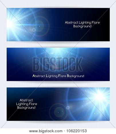 Abstract lighting flare vector banners