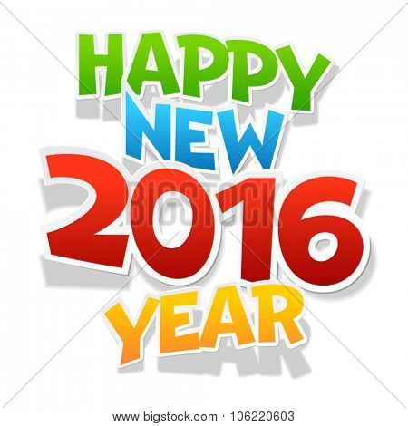 Vector Happy new year 2016 greeting card with colorful and playful  font